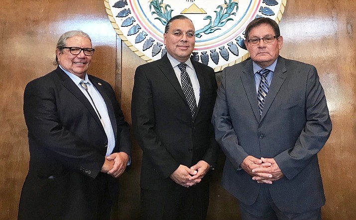 "From left: Deputy Bureau Director of Field Operations for the BIA's Albuquerque Office Jim James, new Bureau of Indian Affairs Regional director Bartholomew ""Bart"" Stevens, and Speaker LoRenzo Bates at the Navajo Nation Council Chamber in Window Rock Aug. 20. (Office of the Speaker)"