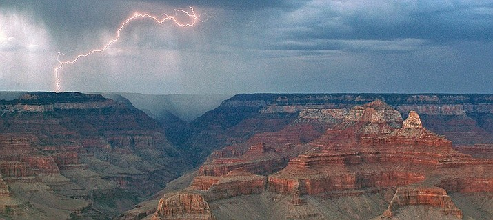 Monsoon storms bring dangerous lightning strikes along the North Rim. (National Parks Service photo)