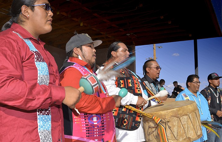 Eagle Plume Dancers and Drummers perform at Mid-Summer's Day  Aug. 11 in Winslow. (Todd Roth/NHO)