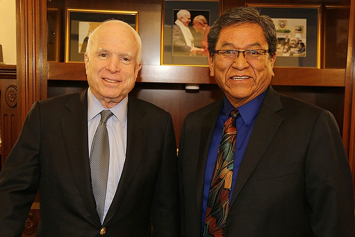 U.S. Sen. John McCain and Navajo President Russell Begaye pose for a photo in McCain's office in February 2017. (Office of the President and Vice President)