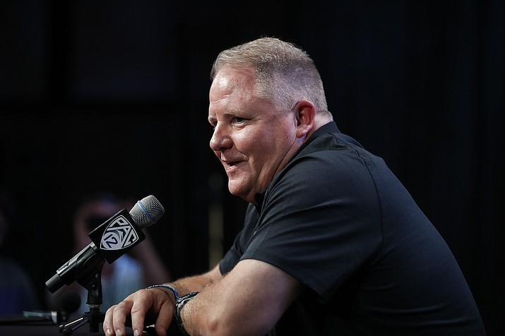 In this July 25, 2018, file photo, UCLA head coach Chip Kelly speaks at the Pac-12 Conference Media Day in Los Angeles. (Jae C. Hong/AP, file)