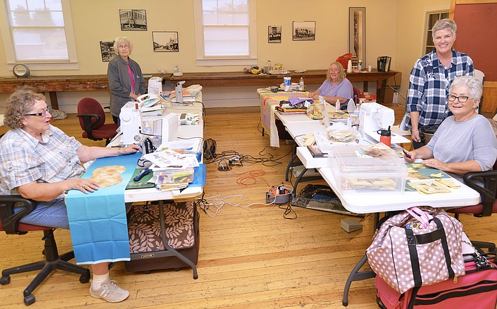 Members of Winslow's Quilt Guild worked in the Hubble building Aug. 22-24. (Todd Roth/NHO)