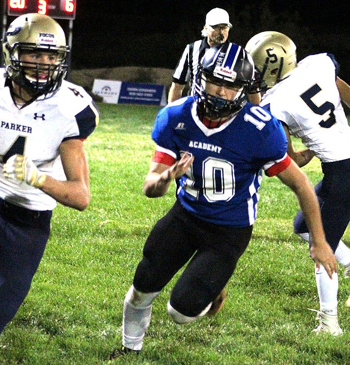 Kingman Academy's Trevor Lowry scored a rushing touchdown in his debut on offense last week. Lowry also added six solo tackles on defense. (Miner file photo)