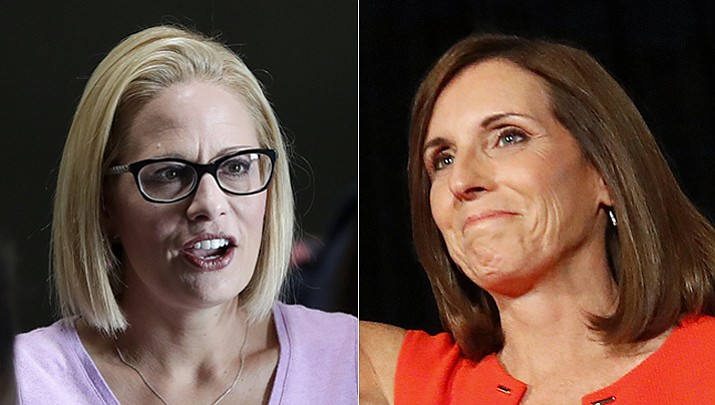 The Senate race in Arizona is shaping up to be a tale of two pivots - Kyrsten Sinema's transformation over the years against Martha McSally's more abrupt swing on Trump, the most divisive issue in politics today. (AP)