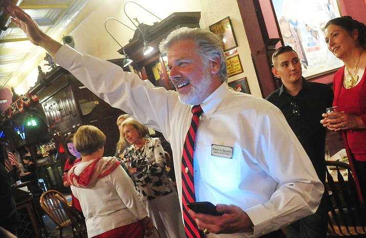 Prescott Justice of the Peace Glen Savona reacts after finding out he won as election results from the Arizona primary election come in Tuesday, August 28, 2018. (Les Stukenberg/Courier)