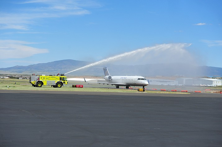 The first Skywest jet lands as United Express officially opened for business at the Prescott Regional Airport  Wednesday, Aug. 29, 2018. (Les Stukenberg/Courier)