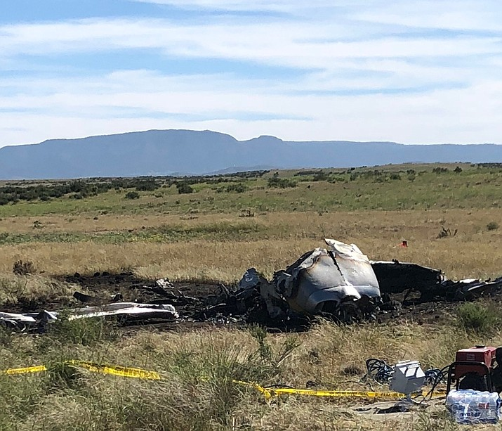 The burnt remains of a Cessna 210 that crashed just north of the Prescott Municipal Airport Wednesday night, Aug. 29. The identification of the plane's single occupant has yet to be confirmed.