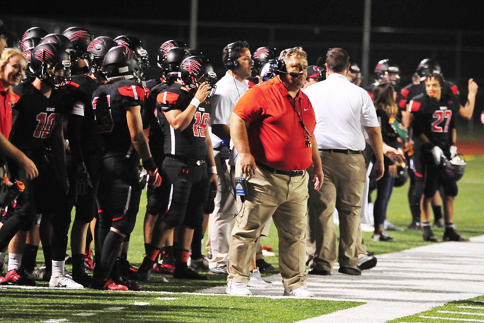 Bradshaw Mountain Head Coach Chuck Moeller on the sideline as the Bears take on the Youngker Roughriders in their home opener Friday, August 31, 2018 in Prescott Valley. (Les Stukenberg/Courier)