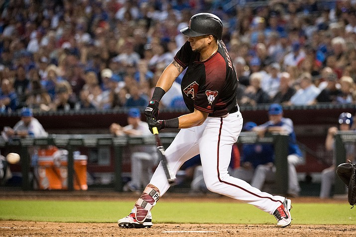 David Peralta hit a three-run homer in the fifth inning and the NL West leaders won 3-1 on Thursday night in the opener of a pivotal series. (SARAH SACHS/Arizona Diamondbacks file photo)