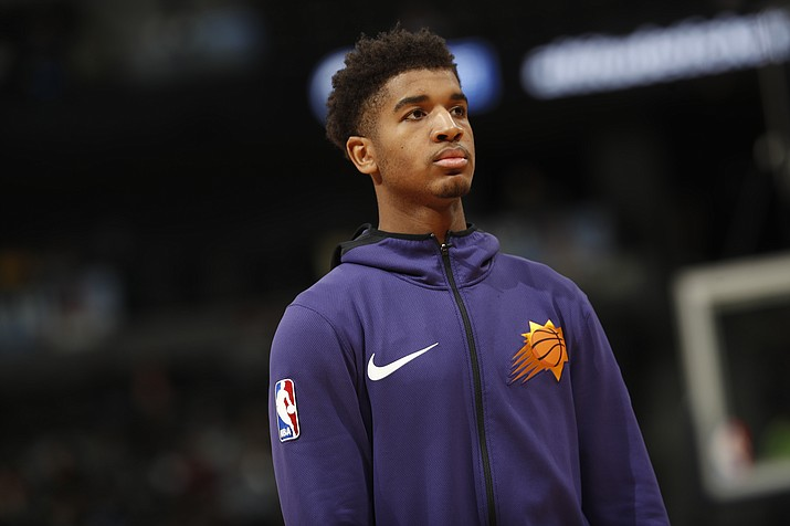 Phoenix Suns forward Marquese Chriss (0) in the second half of an NBA basketball game Wednesday, Jan. 3, 2018, in Denver. The Nuggets won 134-111. (David Zalubowski/AP)