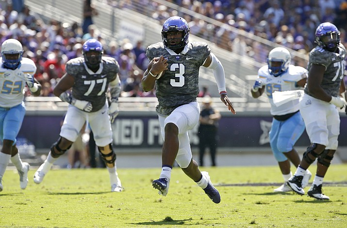 TCU quarterback Shawn Robinson (3) takes off on a 36-yard touchdown run against Southern University during the first half of an NCAA college football game, Saturday, Sept. 1, 2018, in Fort Worth, Texas. (Ron Jenkins/AP)