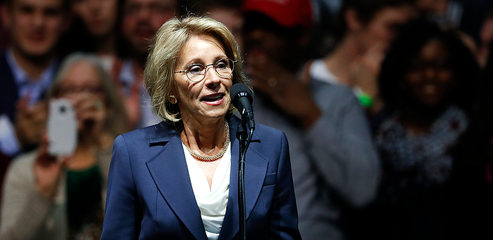 "Education Secretary Betsy DeVos says she has ""no intention of taking any action"" regarding any possible use of federal funds to arm teachers or provide them with firearms training. (Photo courtesy of White House)"