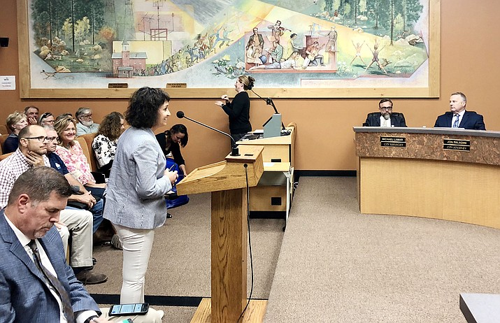 During a study session Aug. 28, Kirkland Mining Company President Areta Zouvas responds to questions from the Prescott City Council about the company's proposed mining operations in Skull Valley. (Cindy Barks/Courier)