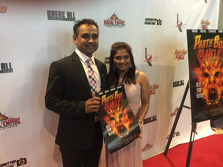 "Neel Patel and his wife, Chaitali, attended a premiere showing of his movie, ""Party Bus to Hell,"" in Las Vegas. (COURTESY)"