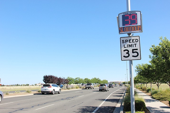 A new radar speed sign has been placed on Glassford Hill Road near the Yavapai College campus in Prescott Valley. Another is along the same road near the town's Entertainment District. (Max Efrein/Courier)