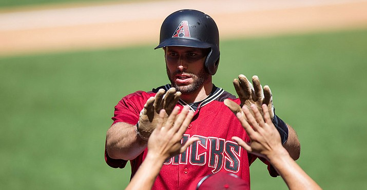 Paul Goldschmidt slugged a two-run shot, his team-leading 31st of the season, in the first, but the D-backs couldn't hold off the Dodgers in a 3-2 loss Friday night. Goldschmidt has reached base in 43 straight road games, extending his club record. (Kelsey Grant/Arizona Diamondbacks file photo)