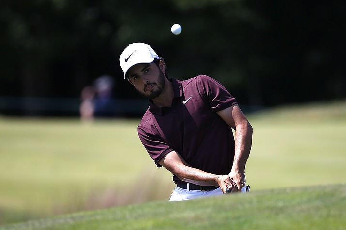 Abraham Ancer chips onto the second green during the third round of the Dell Technologies Championship golf tournament at TPC Boston in Norton, Mass., Sunday, Sept. 2, 2018. (Michael Dwyer/AP)