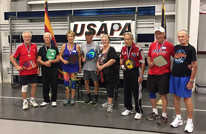 Prescott pickleball players pose for a photo after playing in the Silver Fox tournament Aug. 25 in Prescott. (Bob Atherton/Courtesy)