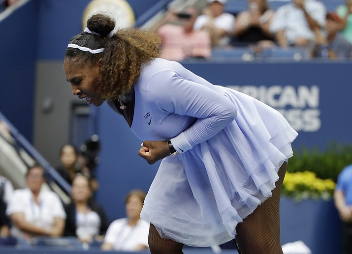 Serena Williams reacts after defeating Kaia Kanepi, of Estonia, during the fourth round of the U.S. Open tennis tournament, Sunday, Sept. 2, 2018, in New York. (Carolyn Kaster/AP)