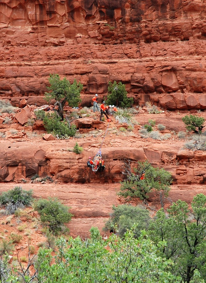 Members of the Yavapai County Sheriff's Auxiliary Force complete a technical rescue in Sedona. (YCSO/Courtesy)