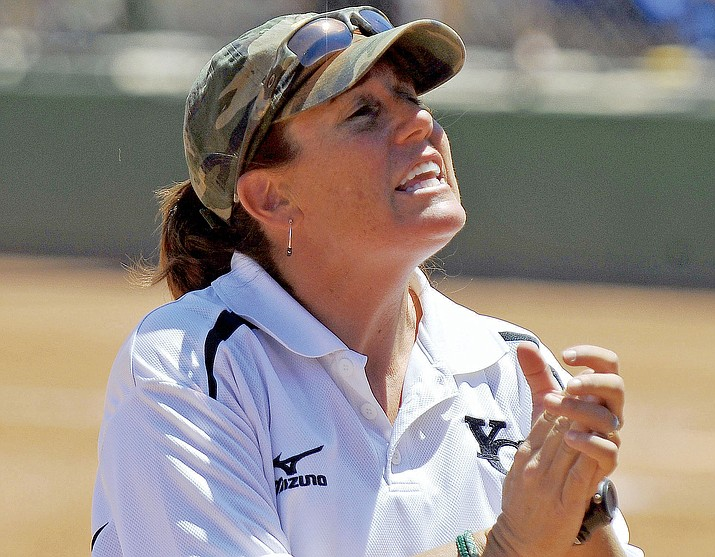 Former Yavapai College softball coach Stacy Iveson, seen here in 2011, was honored on Saturday, Aug. 25, at the Prescott campus for her May induction into the Arizona Community College Athletic Conference (ACCAC) Hall of Fame. Iveson led Yavapai to two NJCAA Division I national titles in her four seasons with the Roughriders, from 2008-2011. (Courier file)