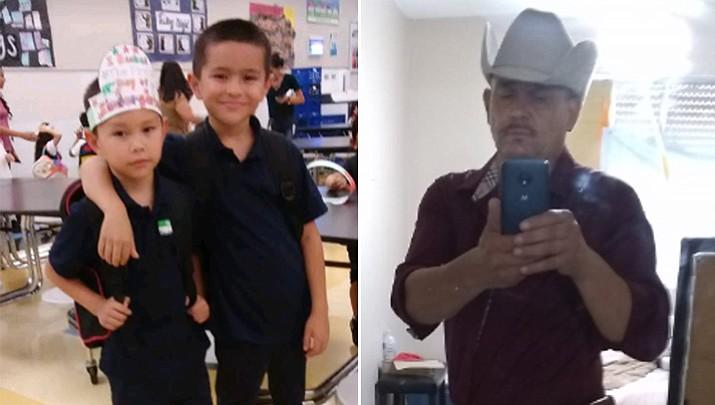 At left, Jonathan Nunez-Coronado, 5, and Victor Nunez-Coronado, 8. At right, father Dimas Coronado, 47. (Phoenix police Department, via AP)