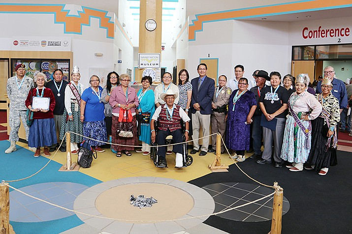 New members of the Navajo Nation Hall of Fame pose for a photo in the Navajo Nation Museum after the induction ceremony Aug. 17. (Office of the President and Vice President)
