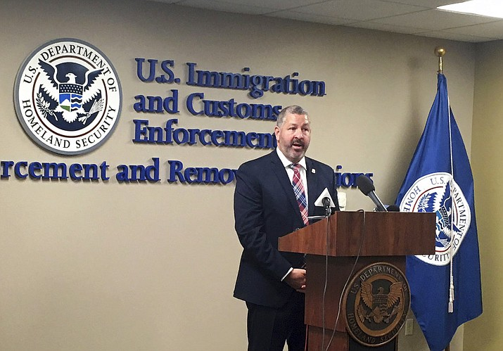 Henry Lucero, the U.S. Immigration and Customs Enforcement's Phoenix field office director, talks in Phoenix, Ariz., Friday, Aug. 31, 2018, about a weeklong operation that netted the arrest of 78 people in Arizona. Many of those people had already been convicted of serious crimes and are now in deportation proceedings. (AP Photo/Astrid Galvan)