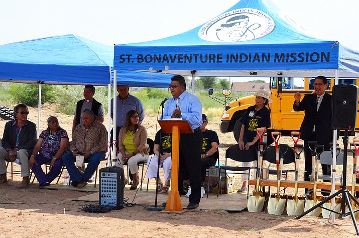 Students, teachers and school administrators gather in Thoreau, New Mexico Aug. 15, to celebrate the ground breaking for the construction of an 18,000 square-foot gymnasium. (Navajo Nation Office of the Speaker)