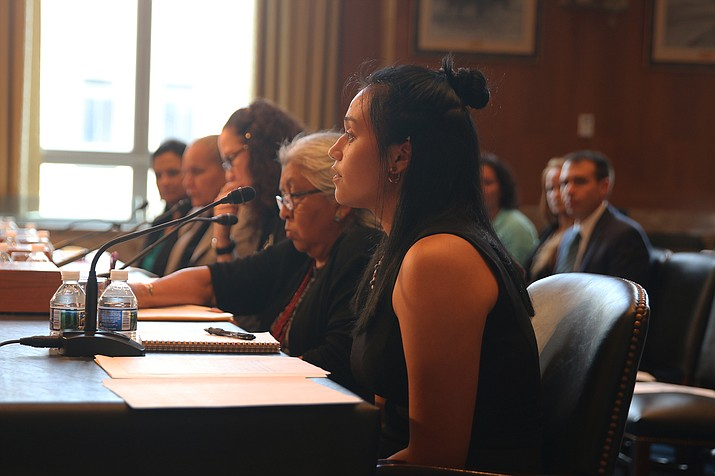 Lauren Hummingbird, a graduate of the Cherokee Nation's language immersion school in Oklahoma, told a Senate panel that language is the foundation of a culture, but past federal policies have brought tribal communities to a painful point. (Photo/Vandana Ravikumar, Cronkite News)