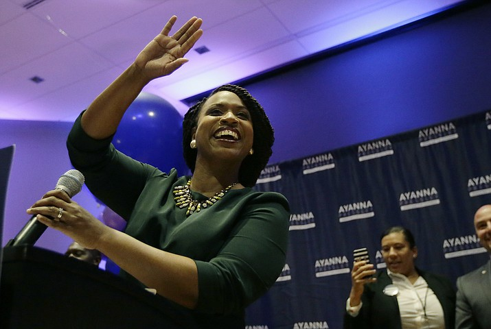 Boston City Councilor Ayanna Pressley celebrates victory over U.S. Rep. Michael Capuano, D-Mass., in the 7th Congressional House Democratic primary, Tuesday, Sept. 4, 2018, in Boston. (Steven Senne/AP Photo)
