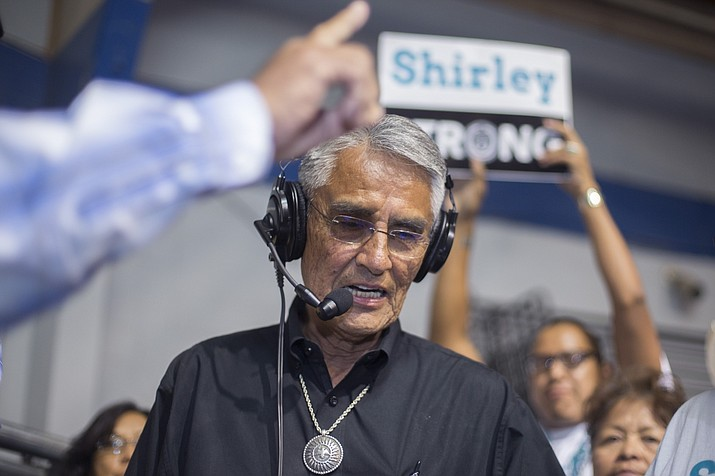Navajo Nation presidential candidate Joe Shirley Jr. thanks his constituents at the sports center in Window Rock, Ariz. Tuesday, Aug. 28, 2018. Current Navajo Nation Vice President Jonathan Nez and former tribal President Shirley are the top two finishers in Tuesday's primary election. They will face off in the November general election. (Cayla Nimmo/AP Photo)