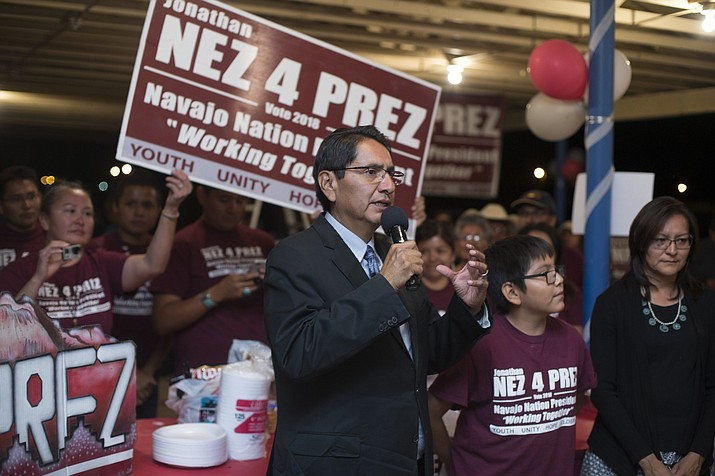 Navajo Nation presidential candidate Jonathan Nez addresses his supporters at the fairgrounds in the capital of the tribe Window Rock, Tuesday, Aug. 28, 2018. (Cayla Nimmo/AP)