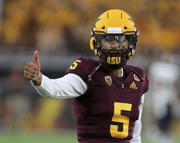 Arizona State quarterback Manny Wilkins gestures to a teammate prior to an NCAA college football game against UTSA, Saturday, Sept. 1, 2018, in Tempe. (Ralph Freso/AP)