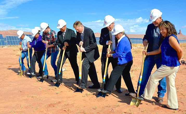 "Council Delegate Alton Joe Shepherd, Navajo Nation Vice President Jonathan Nez, NTUA officials, SRP partners, and Jonathan Scott of HGTV show's ""Property Brothers"" break ground at the expanded Kayenta Solar Facility II in Kayenta Aug. 23. (Navajo Nation Office of the Speaker)"