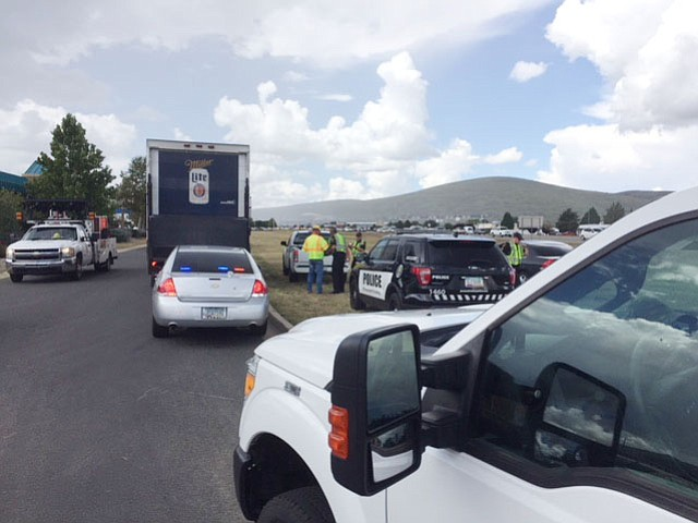 A collision in Prescott Valley between two vehicles - one a beer truck - Tuesday morning, Sept. 4, caused backups on Highway 69 coming from Prescott. (George Lurie/Courier)