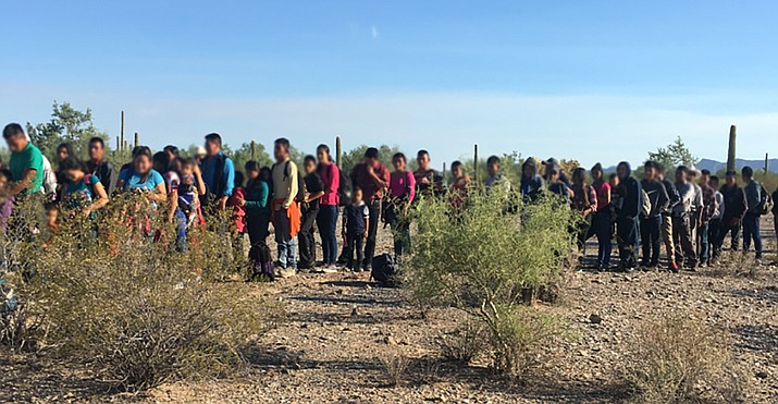 Border Patrol officials said Wednesday that Ajo Station agents patrolling several miles west of the Lukeville Port on Saturday found 163 immigrants from Guatemala, Honduras and El Salvador. (U.S. Customs and Border Protection)