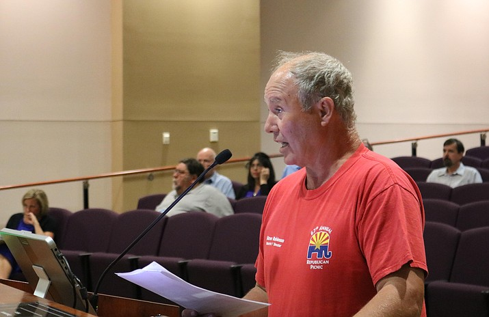 Steve Robinson, District 1 Director for the Mohave County Republican Party, spoke during public comment at Tuesday's Council meeting. He believes the City made use of the incorrect statute in declaring write-in candidates who lacked the required votes to advance to the general election are finished in the current election cycle. (Photo by Travis Rains/Daily Miner)