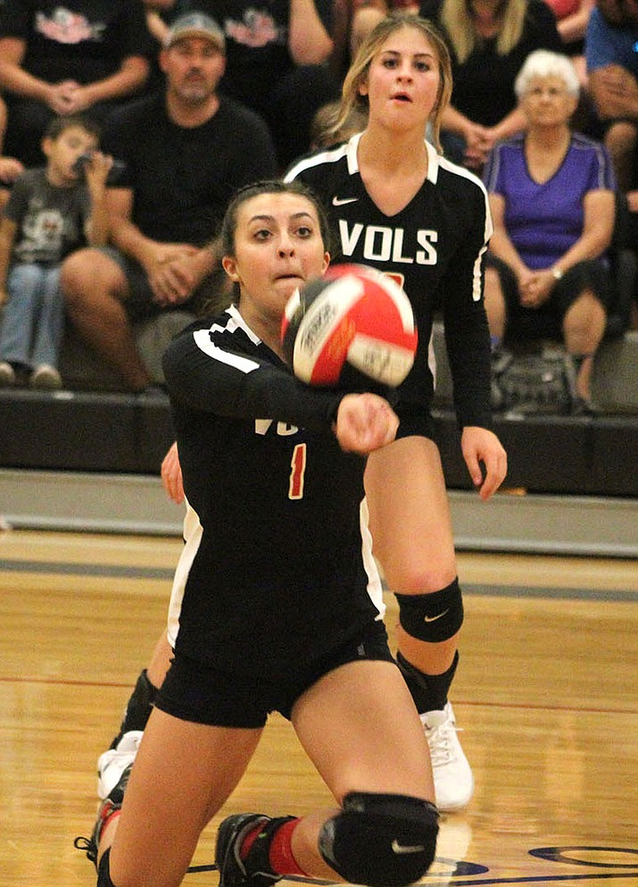 Ashley Sahawneh and the Lee Williams High School volleyball team notched a 3-0 sweep of Coconino for the first win over the Lady Panthers in program history. (Photo by Beau Bearden/Daily Miner)