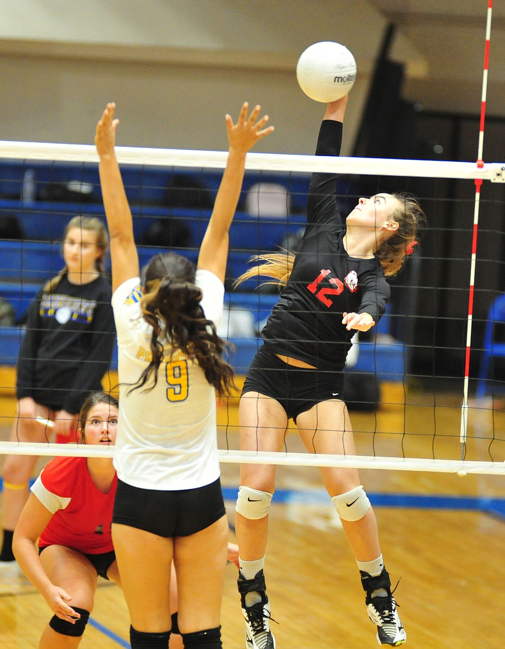 Bradshaw Mountain's Jordyn Moser goes for a cross court kill as the Bears traveled to Prescott for a cross-town volleyball matchup against the Badgers Thursday Sept. 6, 2018. (Les Stukenberg/Courier)