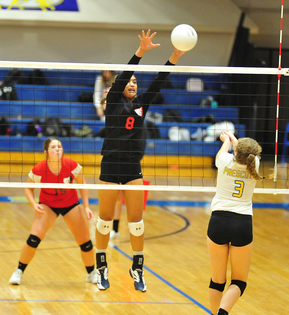 Bradshaw Mountain's Mailani Manuel goes for a block as the Bears traveled to Prescott for a cross-town volleyball matchup against the Badgers Thursday Sept. 6, 2018. (Les Stukenberg/Courier)