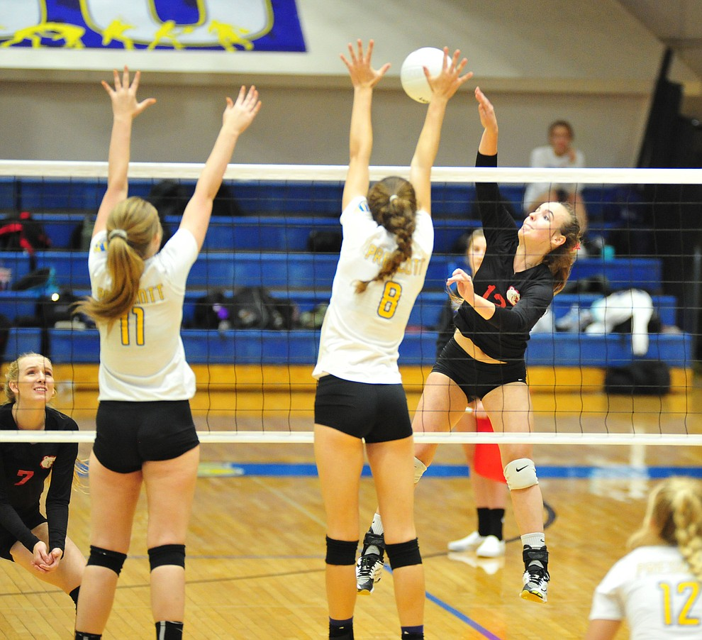 Bradshaw Mountain's Jordyn Moser goes cross court as the Bears traveled to Prescott for a cross-town volleyball matchup against the Badgers Thursday Sept. 6, 2018. (Les Stukenberg/Courier)