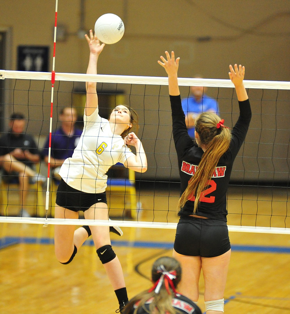 Prescott's Carrigan Baxter send the ball cross court as the Badgers hosted Bradshaw Mountain in a cross-town volleyball matchup Thursday Sept. 6, 2018. (Les Stukenberg/Courier)