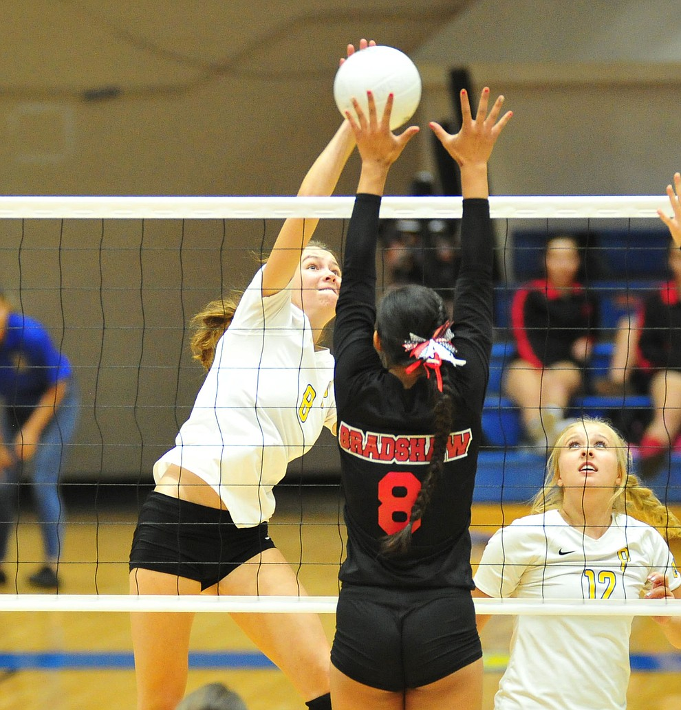 Prescott's Carrigan Baxter sends home a kill as the Badgers hosted Bradshaw Mountain in a cross-town volleyball matchup Thursday Sept. 6, 2018. (Les Stukenberg/Courier)