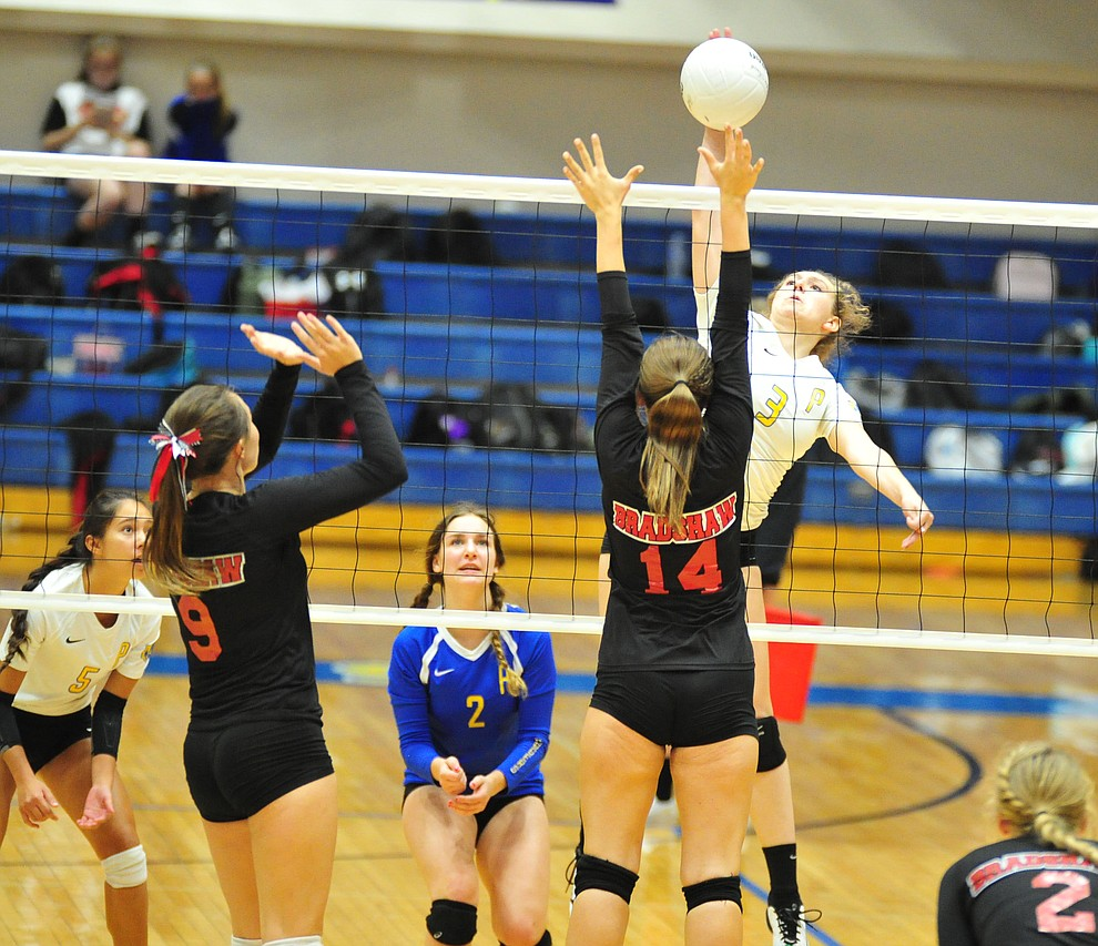 Prescott's Denali Skinner gets high as the Badgers hosted Bradshaw Mountain in a cross-town volleyball matchup Thursday Sept. 6, 2018. (Les Stukenberg/Courier)