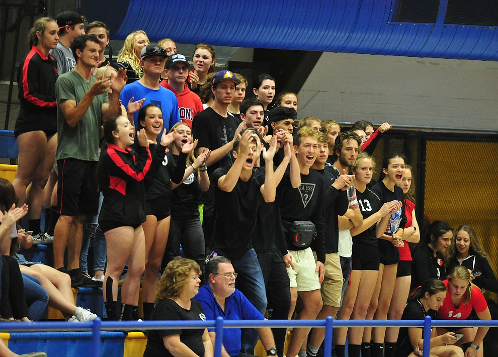 Bradshaw Mountain fans cheer on their team as the Bears traveled to Prescott for a cross-town volleyball matchup against the Badgers Thursday Sept. 6, 2018. (Les Stukenberg/Courier)