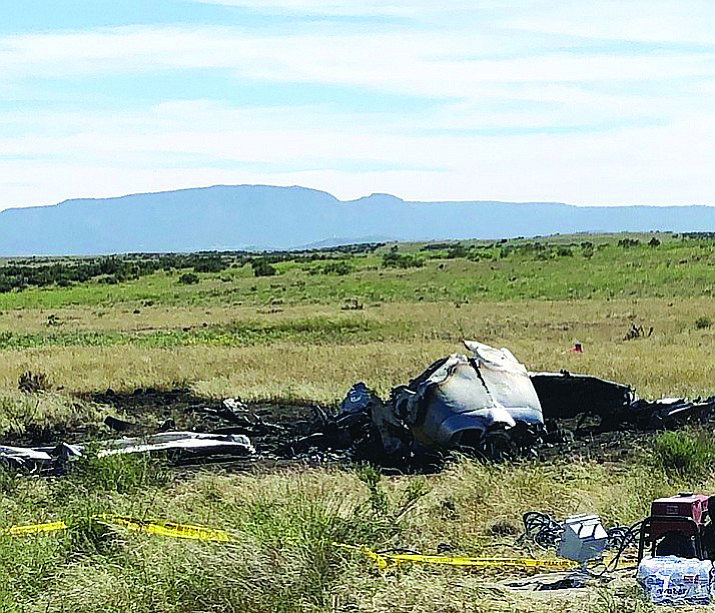 The burnt remains of a Cessna 210 that crashed just north of the Prescott Municipal Airport Wednesday night, Aug. 29. The Yavapai County Medical Examiner has identified Brian Brantner, 71, of Prescott, as the pilot who died in the crash. (Yavapai County Sheriff's Office/Courtesy)