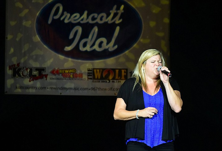 In this Courier file photo last year's Prescott Idol winner Tiffani Fortney sings amazing Grace as her victory song in the finale of the 2017 (8th annual) competition at the Yavapai College Performing Arts Center. The 2018 finale is at 6:30 p.m. on Thursday, Sept. 6 at the performing arts center. (Les Stukenberg/Courier file).