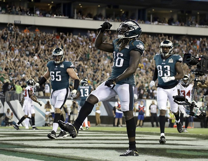 Philadelphia Eagles' Jay Ajayi celebrates after scoring a touchdown during the second half of an NFL football game against the Atlanta Falcons on Thursday, Sept. 6, 2018, in Philadelphia. (Michael Perez/AP)