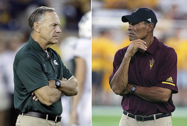 At left, in an Oct. 7, 2017, file photo, Michigan State head coach Mark Dantonio. At right, in a Sept. 1, 2018, file photo, Arizona State head coach Herm Edwards in Tempe. (Ralph/AP, file)